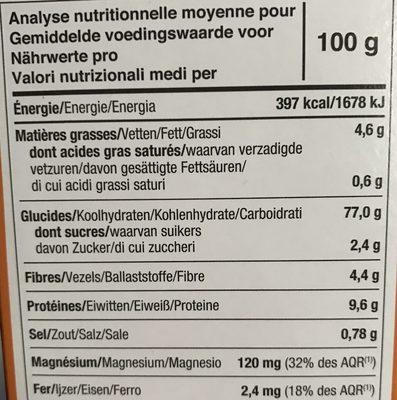 Tartines craquantes bio au Quinoa sans gluten - Nutrition facts