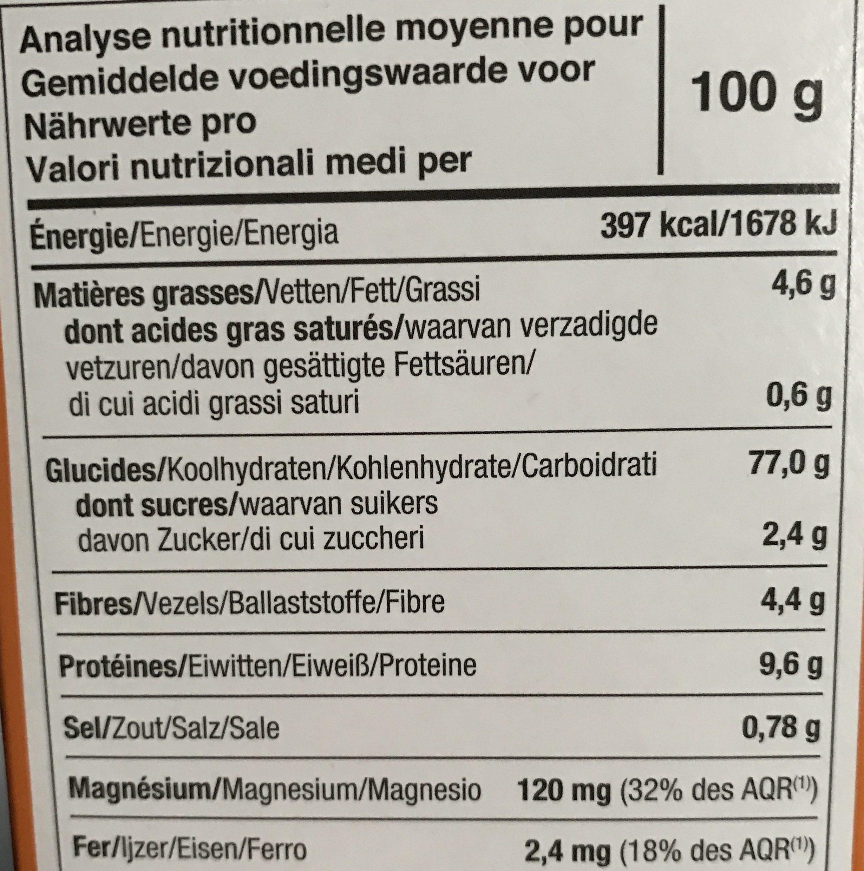 Tartines craquantes bio au Quinoa sans gluten - Informations nutritionnelles