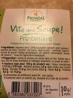 Soupe de Légumes (en Conserve, Condensée) - Ingrédients - fr