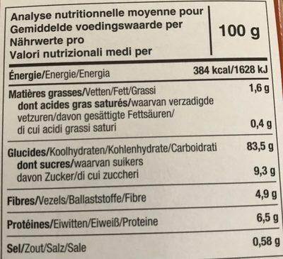 Tartines craquantes bio à la châtaigne sans gluten - Informations nutritionnelles
