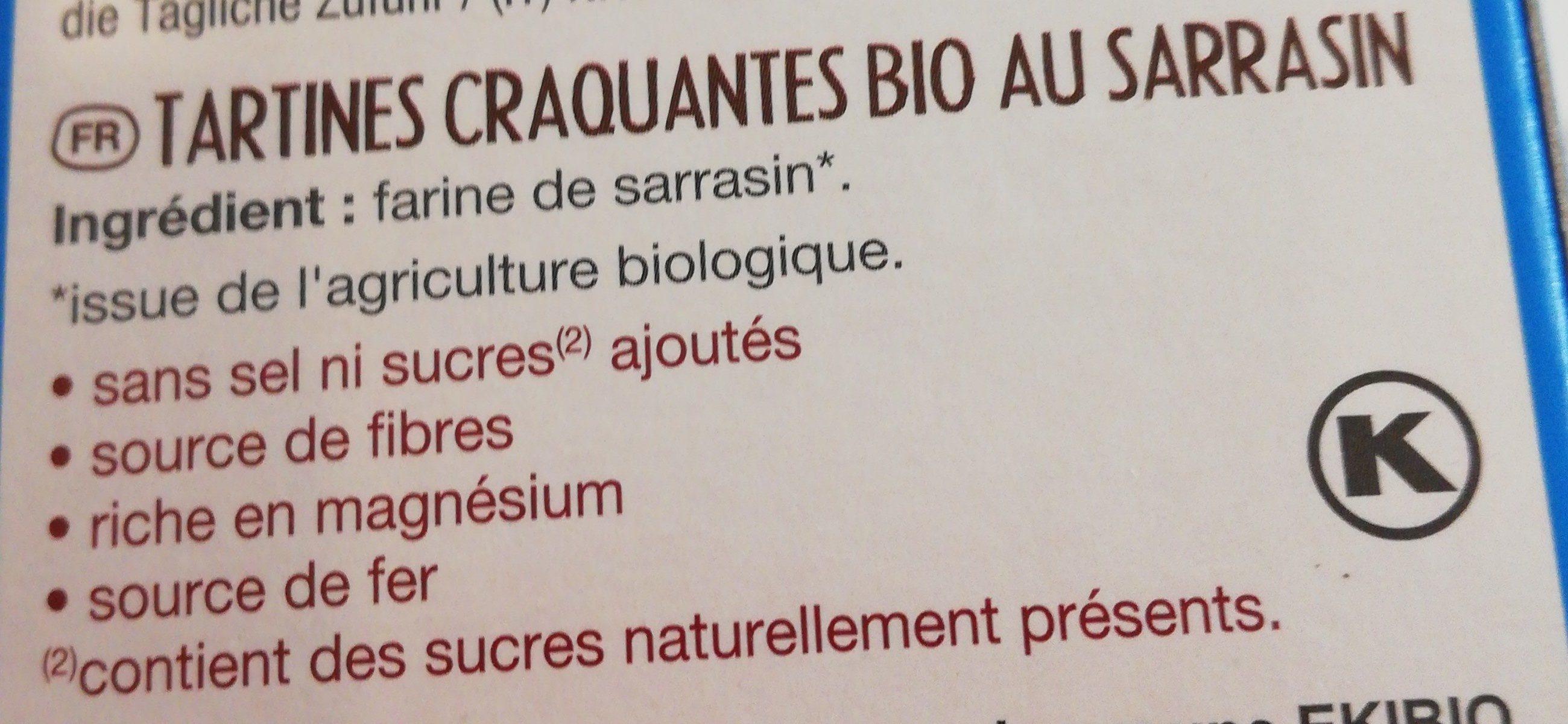 Tartines craquantes bio au Sarrasin - Ingredients