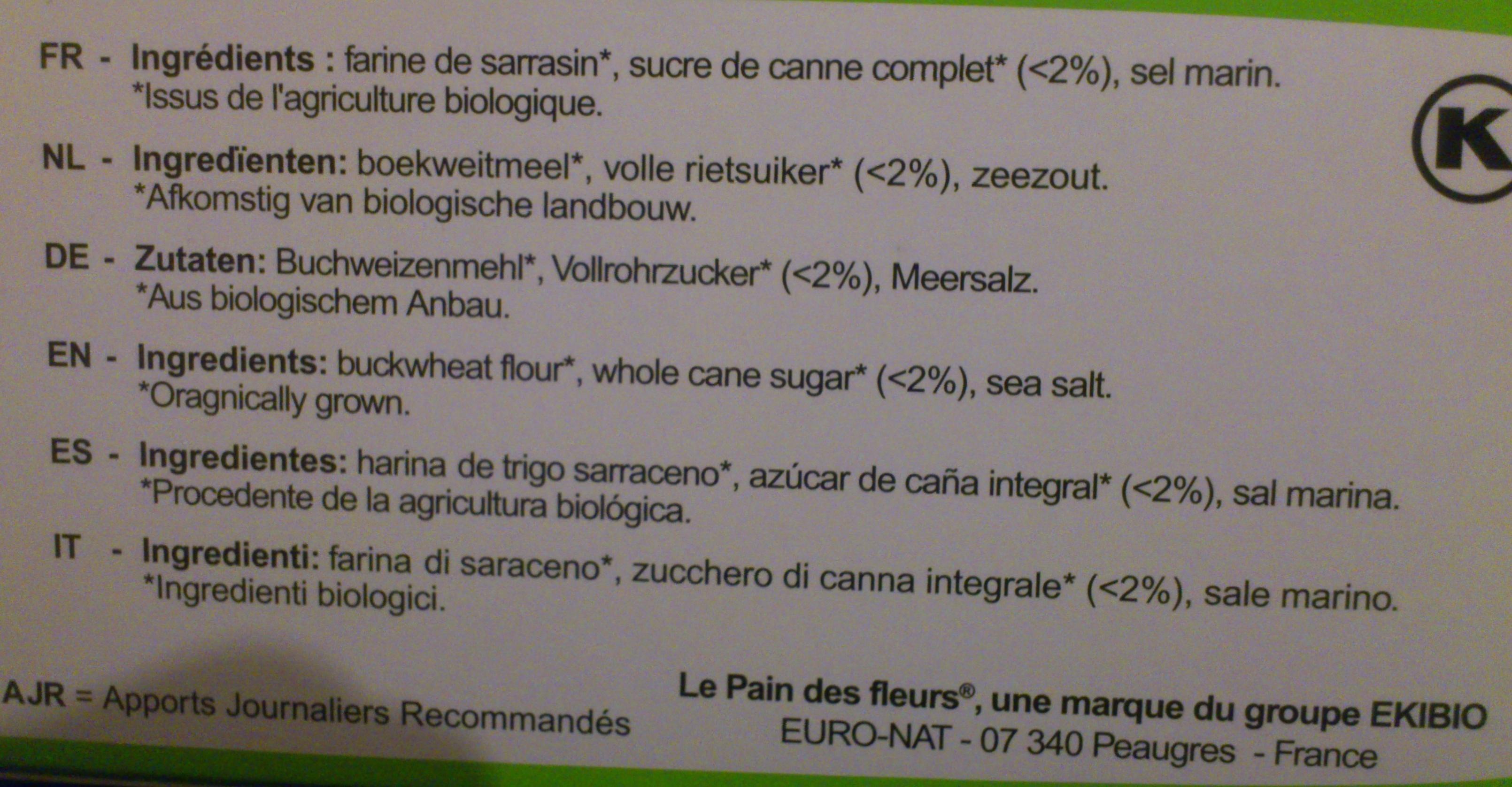 Tartines craquantes au sarrasin - Ingredienti