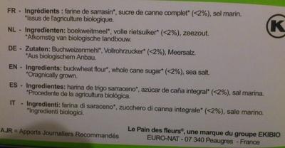 Tartines craquantes au sarrasin - Ingredients - fr