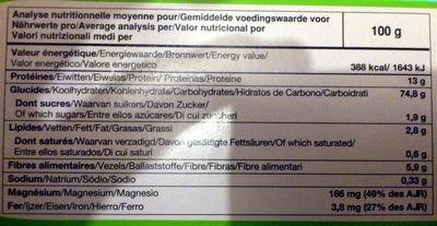 Tartines craquantes bio au sarrasin sans gluten - Nutrition facts