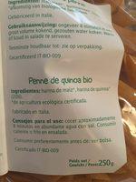 Penne bio au quinoa - Ingrédients