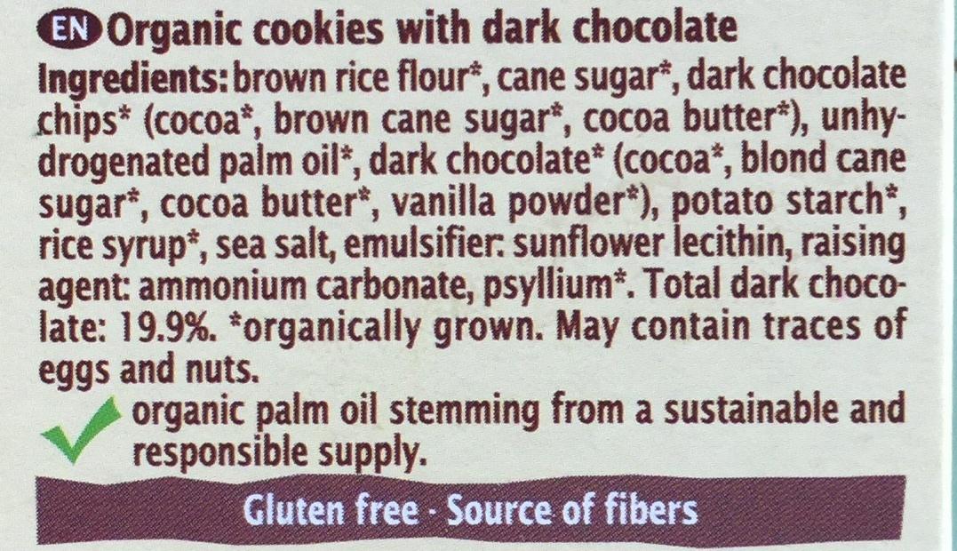 Cookies bio au chocolat noir - Ingredients - en
