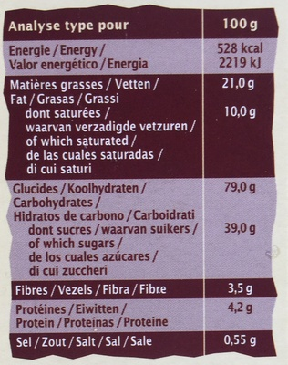 Cookies bio au chocolat noir - Voedingswaarden - fr