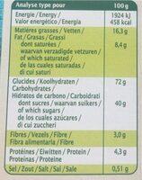 Cookies bio au chocolat noir - Nutrition facts - fr