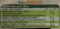 Pain bio 3 céréales prétranché - Voedigswaarden