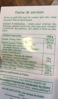 Farine bio de sarrasin - Informations nutritionnelles