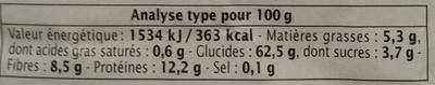 Trio de Quinoa - Informations nutritionnelles