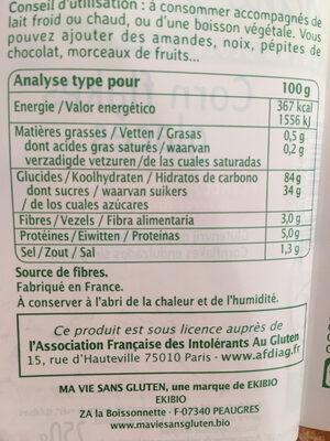Corn flakes glacés bio - Informations nutritionnelles - fr