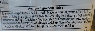 Riz de Camargue IGP Long Blanc - Informations nutritionnelles