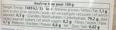 Riz de Camargue rond blanc - Informations nutritionnelles - fr