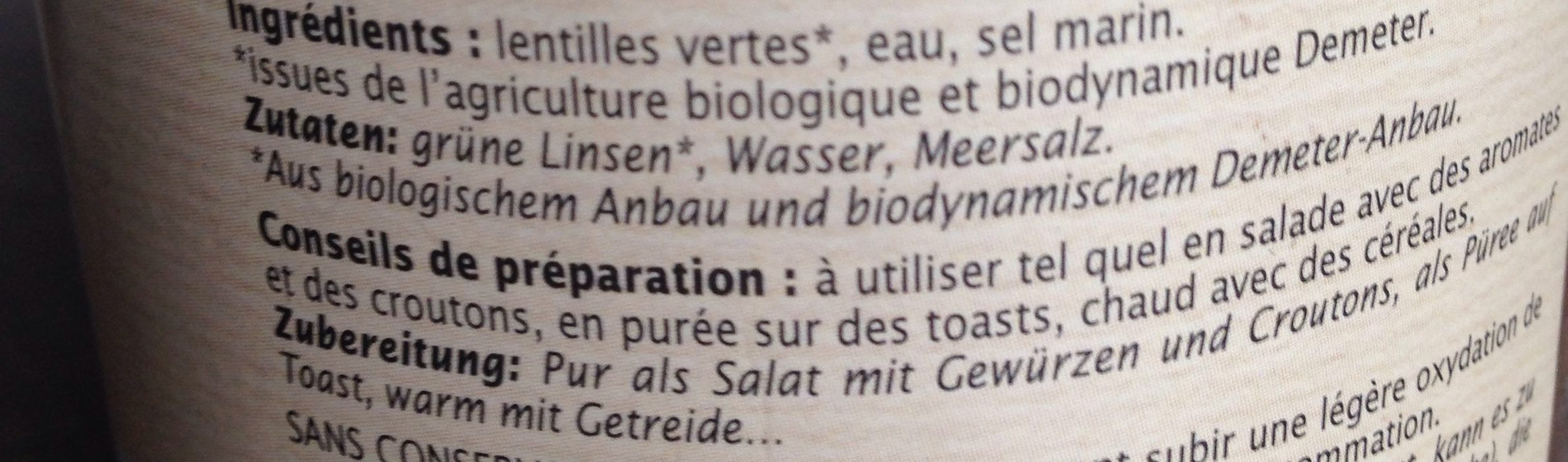 Lentilles Vertes Au Naturel - Ingrediënten - fr