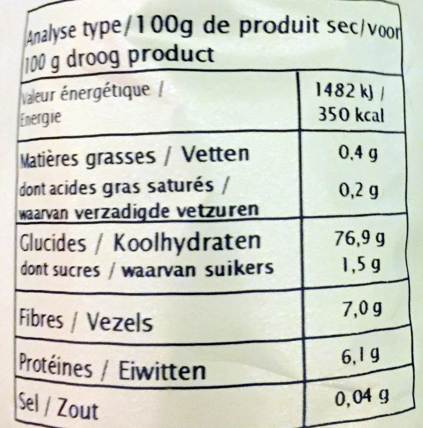 Purée de pommes de terre - Valori nutrizionali - fr