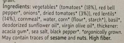 Tomato and red lentil burger - Ingredients - en