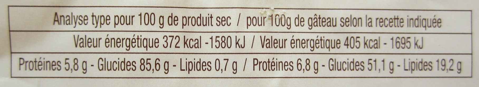 Carrot' Cake - Nutrition facts