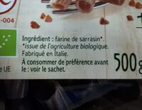Tortiglioni 100% Sarrasin - Ingrédients