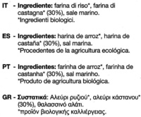 "Tostadas ecológicas ""Le Pain des Fleurs"" Castañas - Ingredientes"
