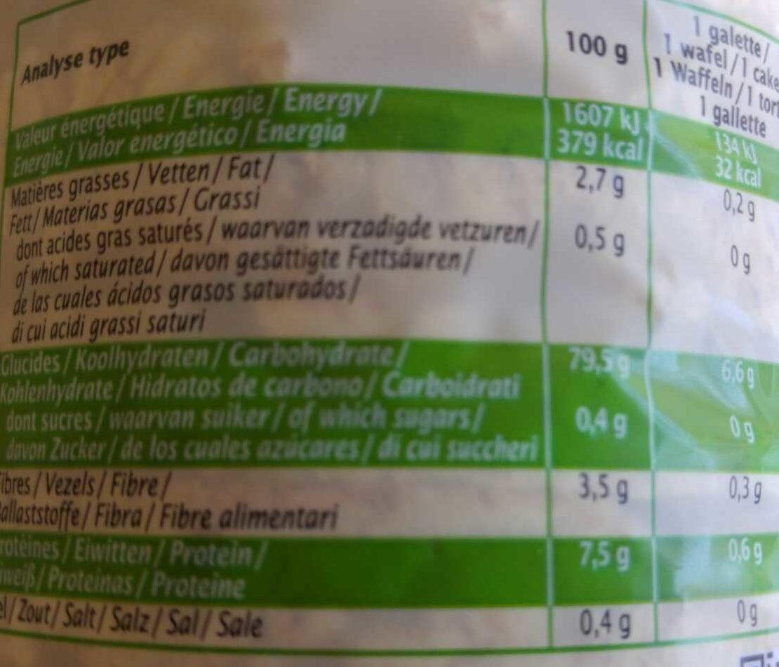 Galettes de riz de camargue - Informations nutritionnelles - fr