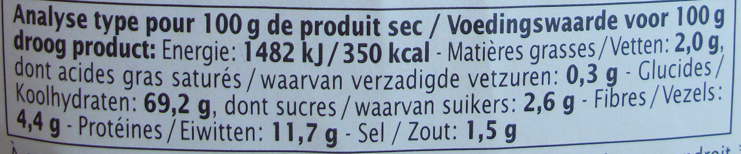 Couscous aux fleurs - Informations nutritionnelles