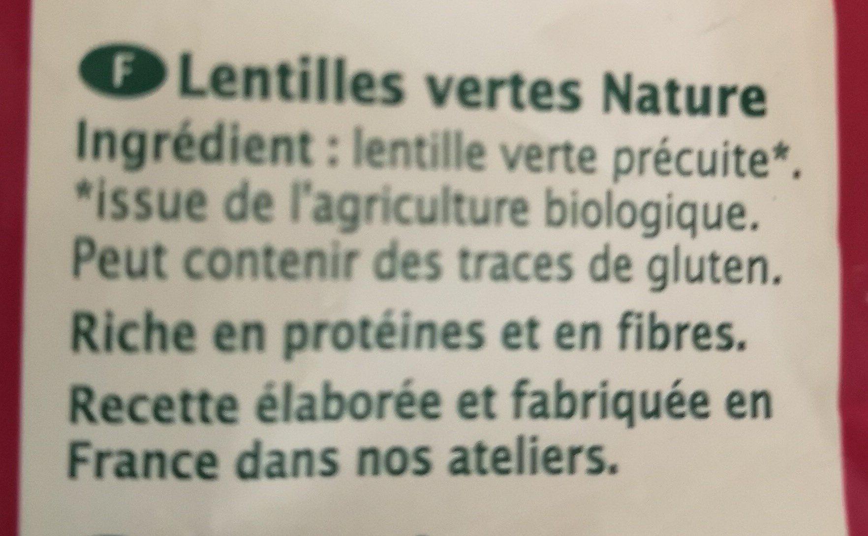Lentilles Vertes Nature - Ingrédients