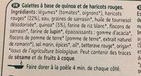 Galettes à Poêler Quinoa Haricot Rouge Bio - Ingredients - fr
