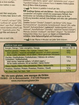 Galettes à Poêler Quinoa Haricot Rouge Bio - Nutrition facts - fr
