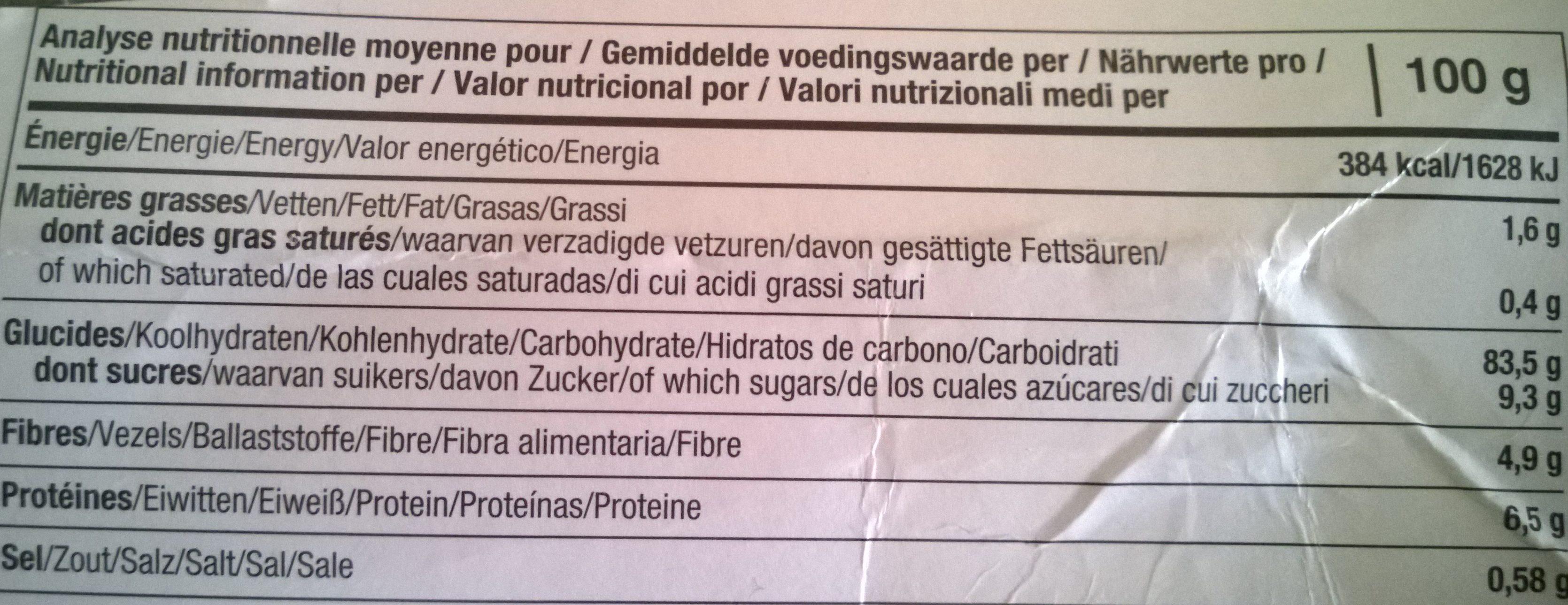 Tartines craquantes bio à la châtaigne - Informations nutritionnelles