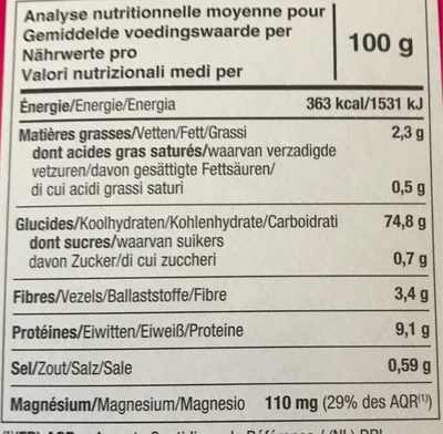 Tartines craquantes bio multi-cereales - Nutrition facts