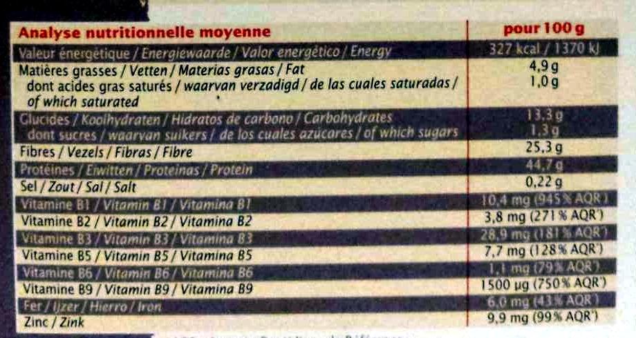 Levure de bière paillettes - Informations nutritionnelles - fr