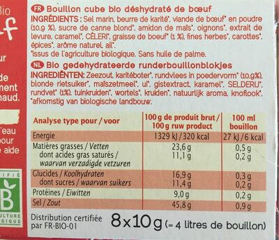 Bouillon boeuf - Voedingswaarden