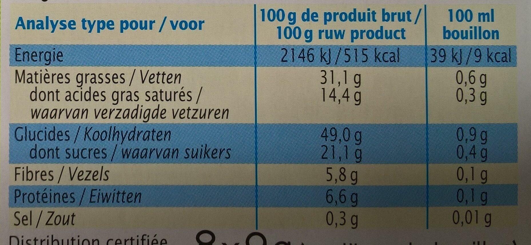 Bouillon bio de légumes sans sel - Voedigswaarden
