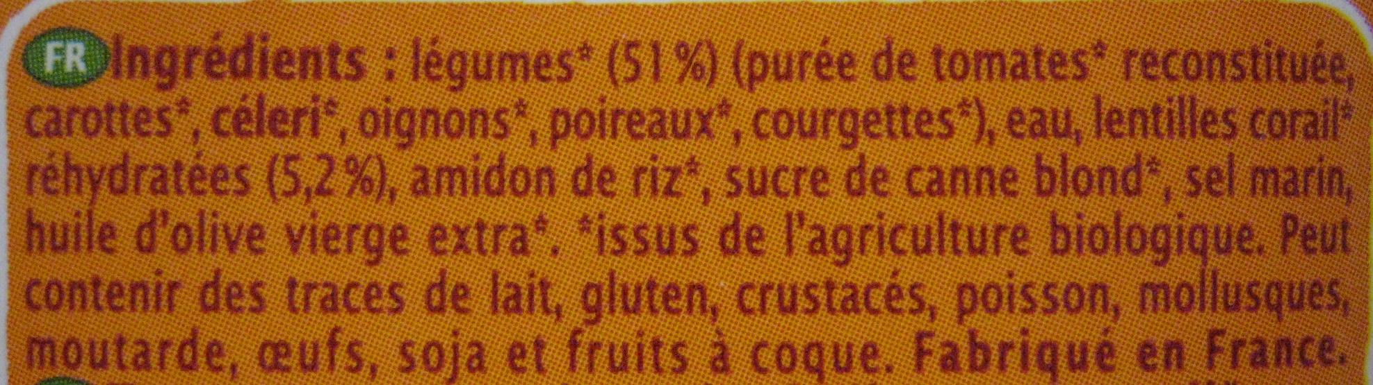 Velouté Tomates & Lentilles corail - Ingrediënten