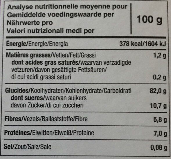 Tartines craquantes bio figue - Voedingswaarden - fr