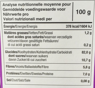 Tartines craquantes bio figue - Informations nutritionnelles - fr