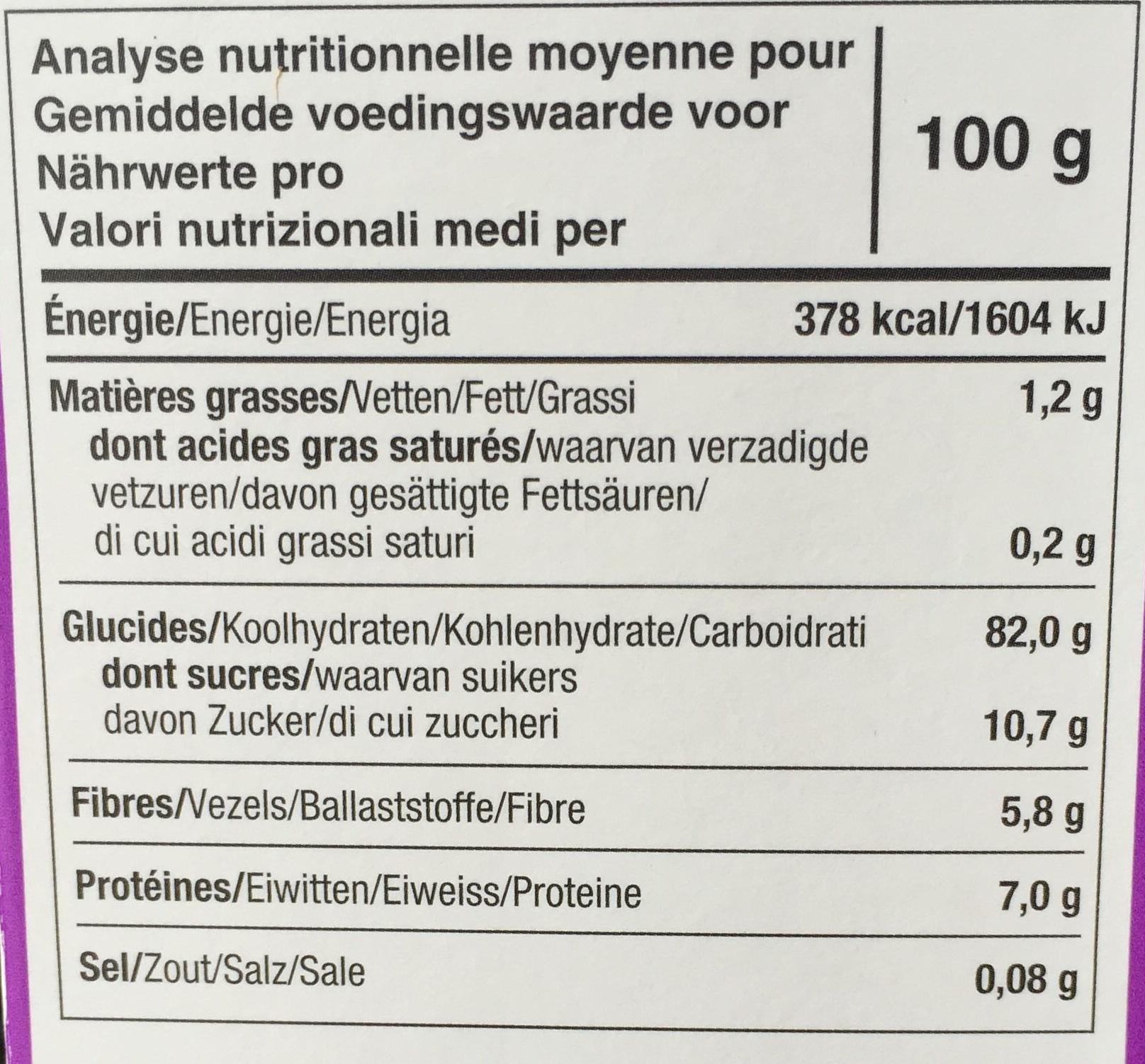 Tartines craquantes bio figue - Пищевая и энергетическая ценность - fr