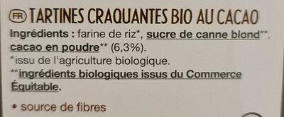 Tartines craquantes bio cacao - Ingredients - en
