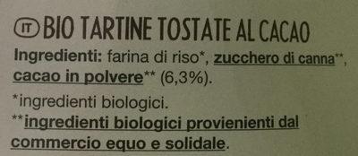 Tartines craquantes bio cacao - Ingredienti - it
