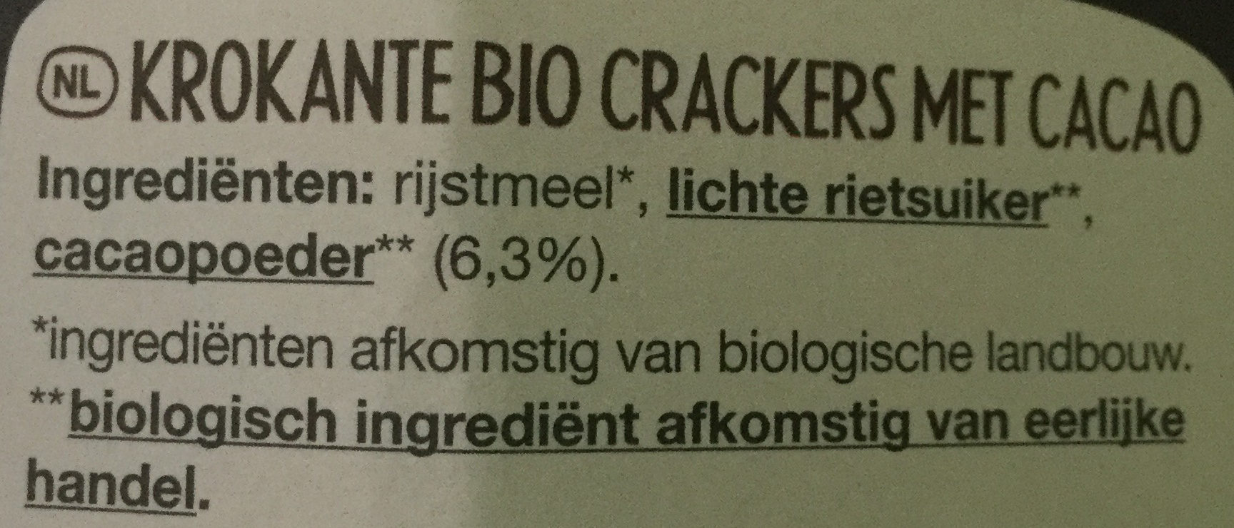 Tartines craquantes bio cacao - Ingrediënten - nl
