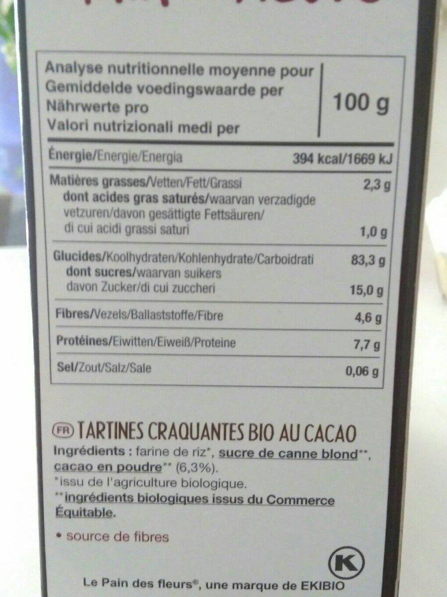 Tartines craquantes bio cacao - Nutrition facts - en