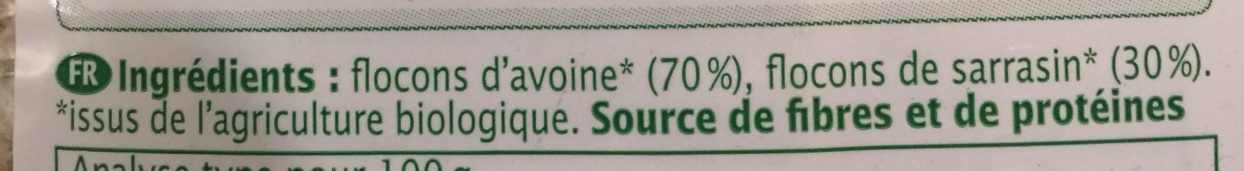 Duo De Flocons Avoine & Sarrasin Bio - 400 G - Ma Vie Sans Gluten - Ingrédients