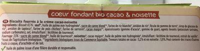 Coeur Fondant Cacao Noisette Bio - 200 G - Ma Vie Sans Gluten - Ingrédients