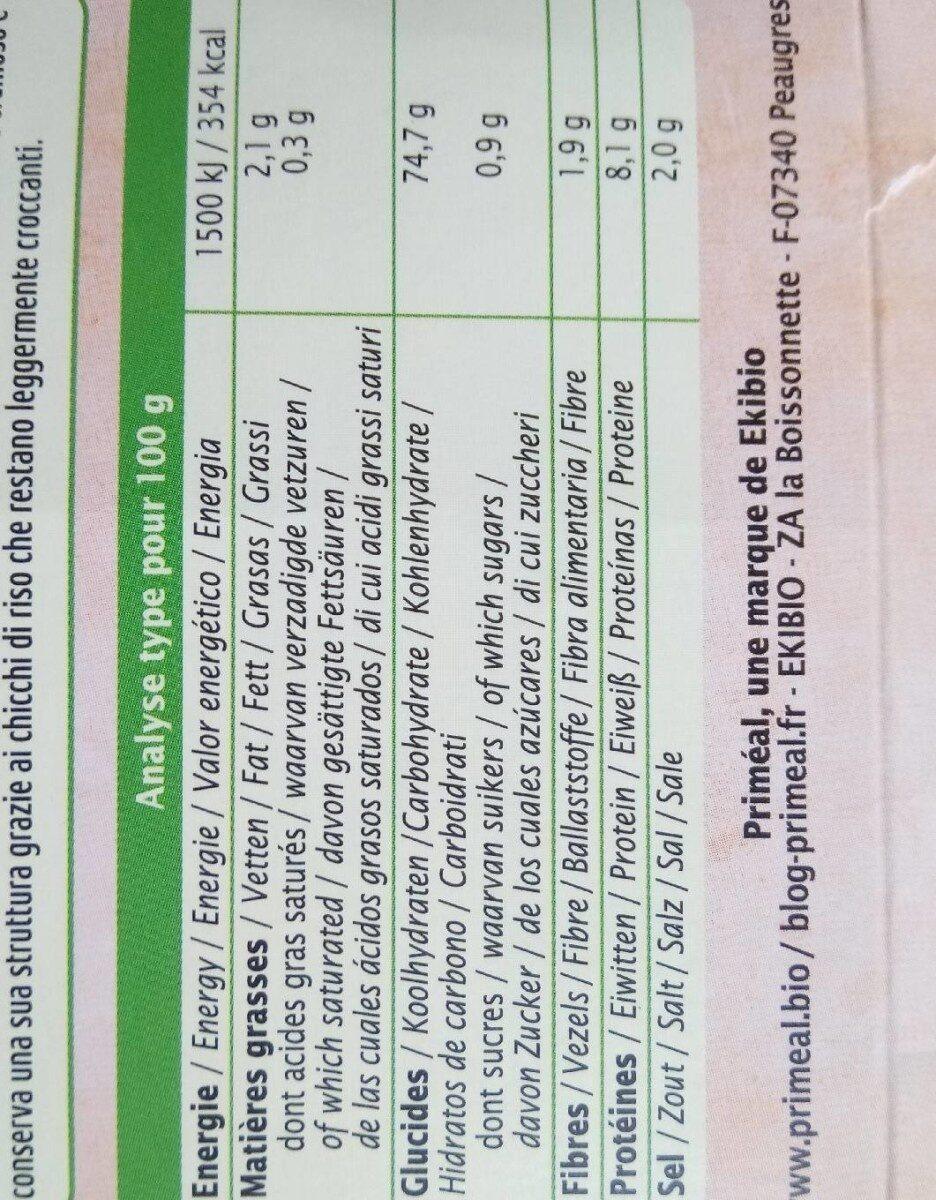 Risotto aux cèpes - Valori nutrizionali - fr