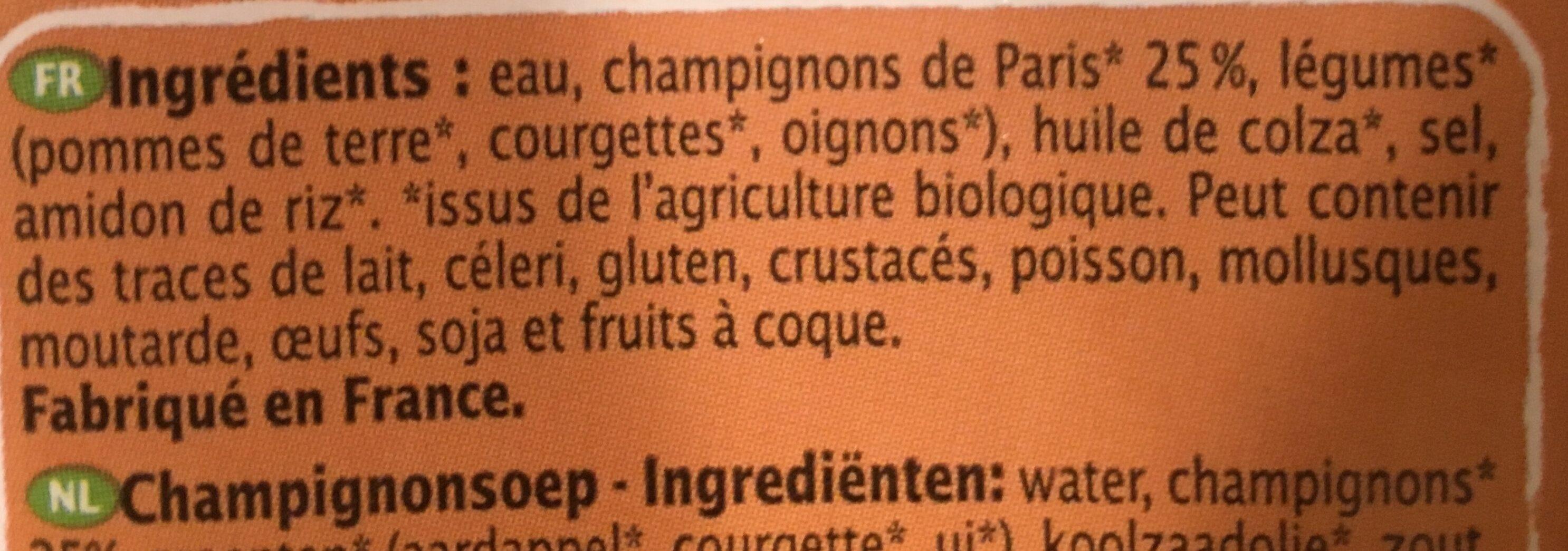 Velouté de champignons - Ingrédients - fr