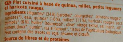Quinoa-millet Haricots Rouges Et Petits Légumes Bio - 220 G - Ma Vie Sans Gluten - Ingredients - fr