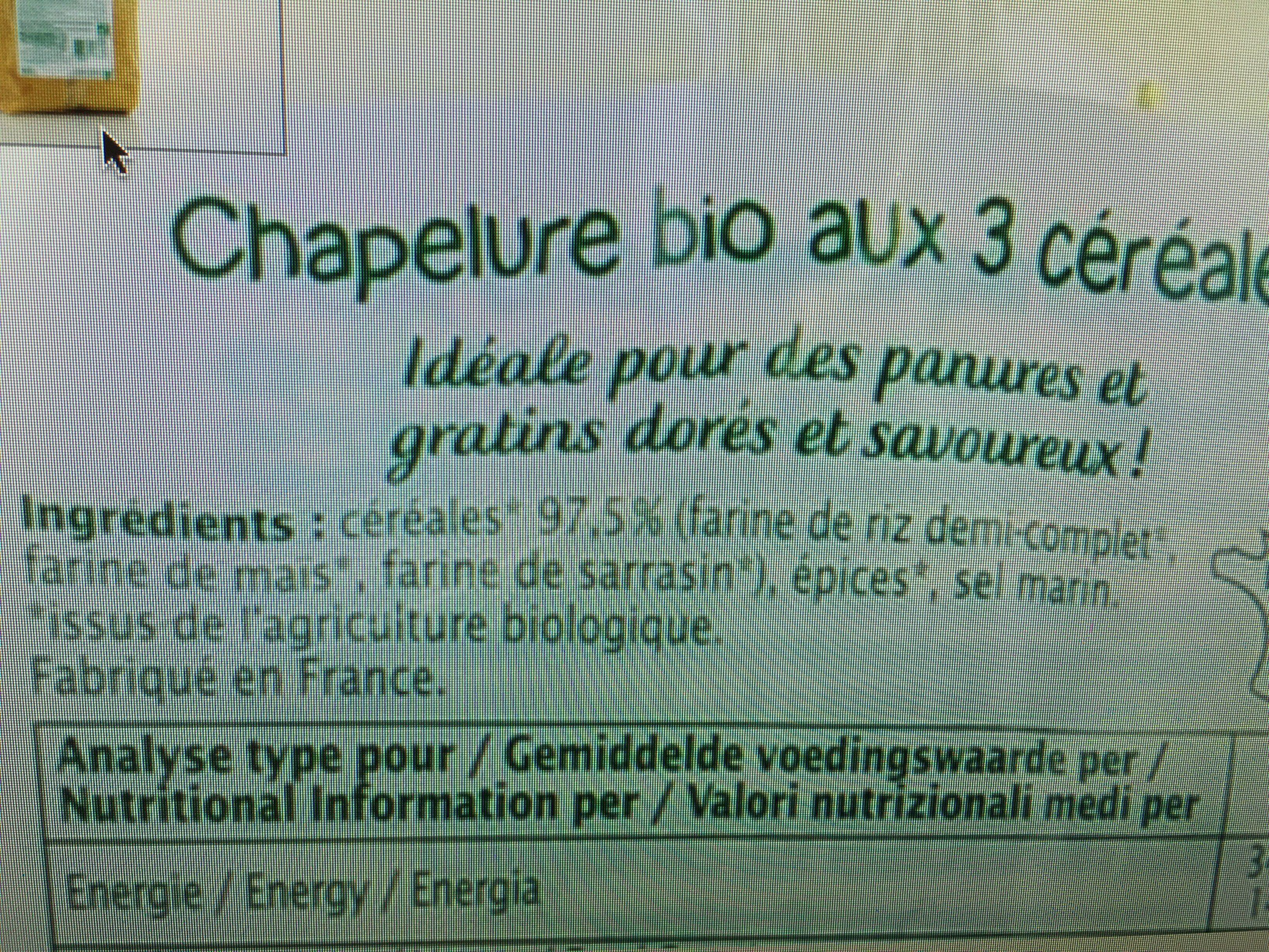 Chapelure 3 Céréales Bio - 220 G - Ma Vie Sans Gluten - Ingrediënten