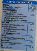 Ravioli épinard & Fromage Bio - Informations nutritionnelles