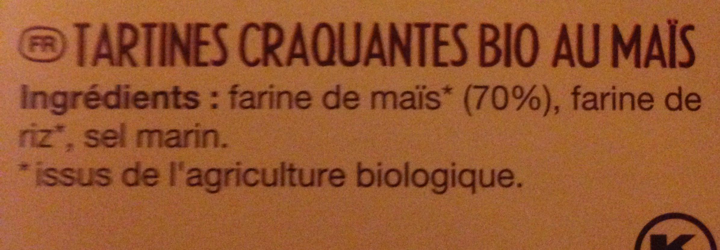 Tartines Craquantes Maïs-riz Bio - 150 G - Le Pain Des Fleurs - Ingredients